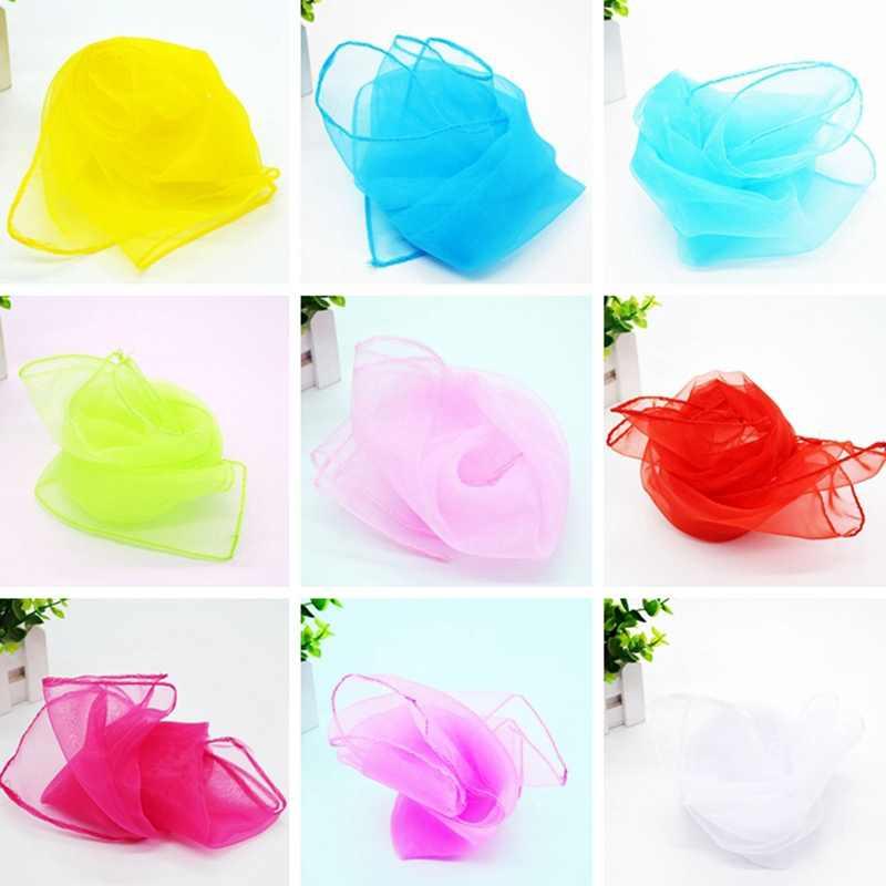 9 Warna 45 Cm * 45 cm Anak Sifon Persegi Syal Juggling Tari Kinerja Menunjukkan Syal Permen Warna Wanita Syal selendang Jilbab