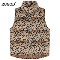 RUGOD Fashion Women Leopard Vest Coat Casual Women Vest Coat Thick Warm Winter Women Clothes Women Outerwear casaco feminino