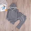 Baby 2pcs Set Baby Girl Boy Clothes Autumn Long Sleeve Striped Cotton Hooed Sweatshirt+Long Pants Leggings Baby Outfits Set