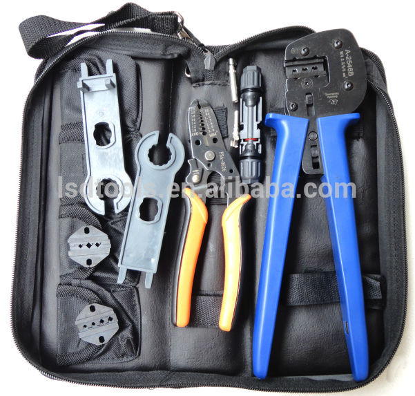 цена на A-K2546B-4 solar crimping tool mc4 tool kit with MC3 and tyco crimping die sets cable stripper, MC4 spanner crimping tool sets