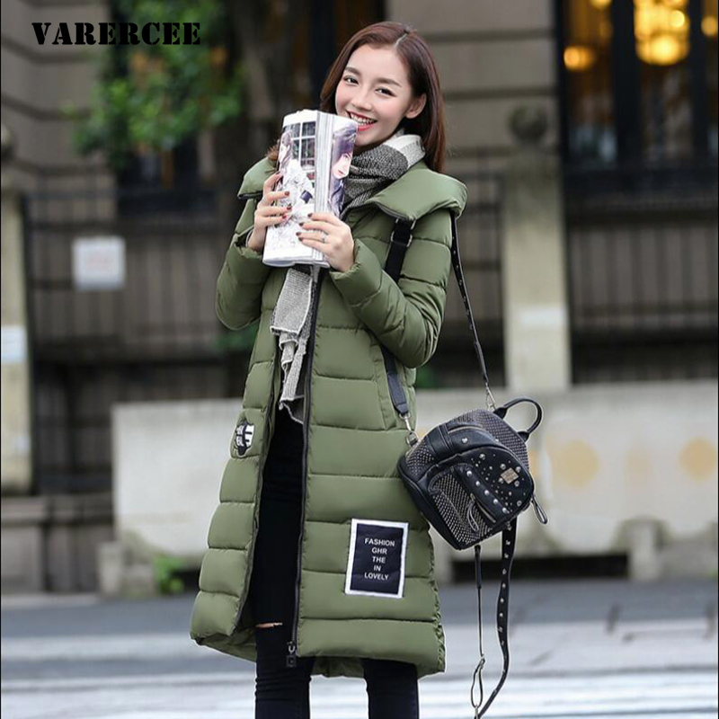 New 2017 Winter jacket women slim long section hooded Thick parka Casual Letter Full sleeve Zippers cotton female down parkas new 2017 winter jacket women slim long section hooded thick coat casual warm full sleeve zippers parka cotton women jacket coats
