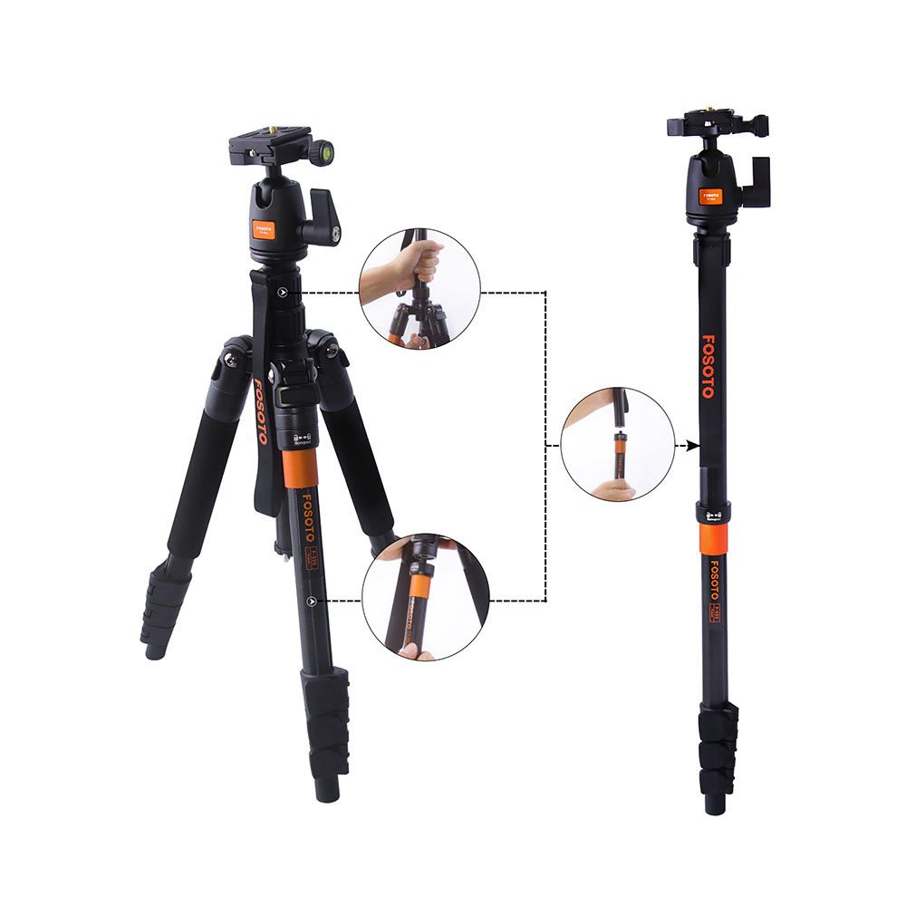 FOSOTO F-555 Travel Tripode Monopod Touism Video Tripod with Ball Head for Canon Nikon Sony Panasonic Olympus Fuji DSLR Cameras professional aluminum dslr camera movie making video cage with 15mm rod system for canon nikon sony pentax olympus panasonic