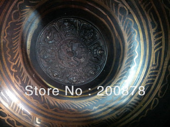 TBC970  Tibet big brass singing bowl,carved Lucky Babao,Tibetan biggest Buddhist things bowl,Low MOQ,Free shipping