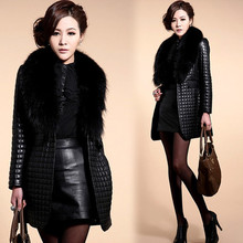 Brieuces new Autumn and winter imitation fur coat fox collar PU leather womens long trench