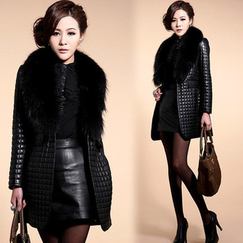 Brieuces new Autumn and winter new imitation fur coat fox fur collar PU leather women's long coat trench coat недорого
