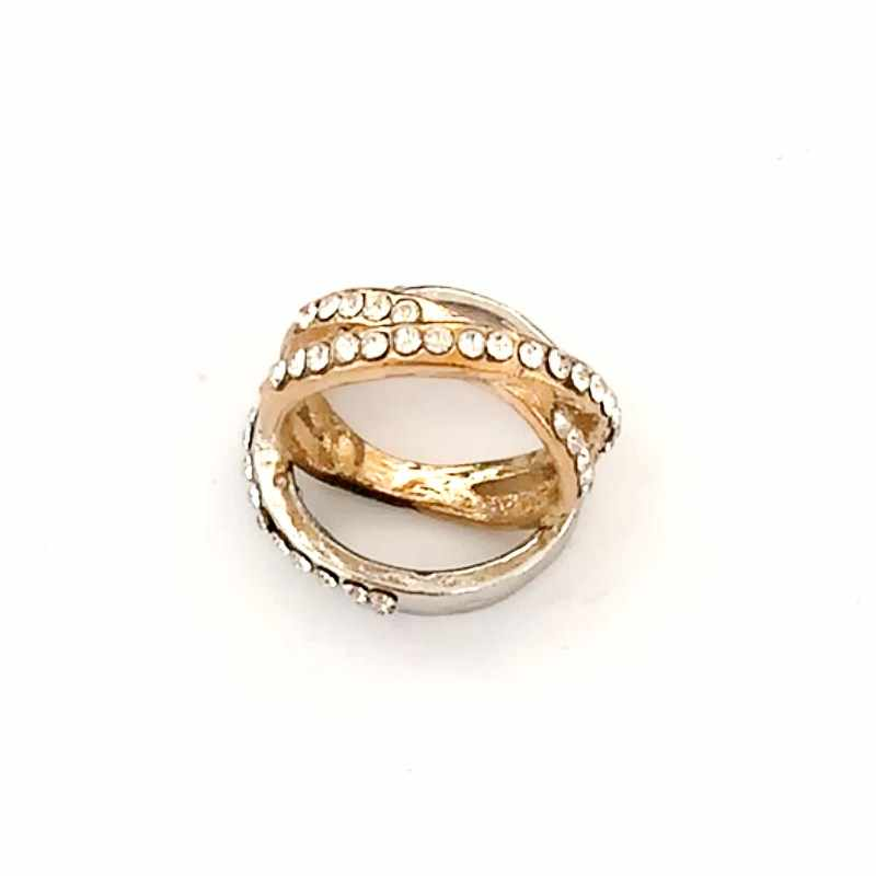 C450 Punk Anillo Fashion Lovely Elegant Gold Silver Color Crystal Cross Rings For Women Wedding Party Jewelry Cute Girl Gift