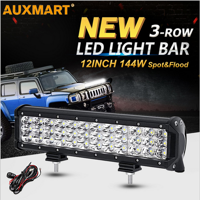 Auxmart LED Light Bar 12 inch 144W Offroad Driving Combo Beam LED Work Light Bar Fog day lamp fit Pickup Truck SUV ATV 4X4
