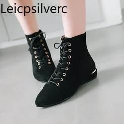 Женские ботинки новые стильные зимние женские ботинки из флока с острым носком, на шнуровке, на молнии, на низком каблуке, на плоской