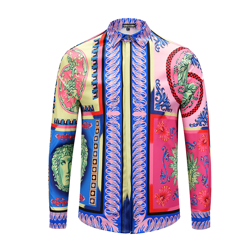 Seestern Brand Clothing Dress Shirts 3D Print Medusa Shirts Men Long Sleeve Party Club Designer Tops Man Nightclub Snake Shirts