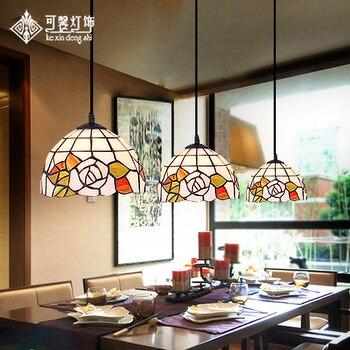 American Pastoral Rose Three Restaurant Tiffany Pendant Lamp Lamparas De Techo Colgante kitchen chandelier