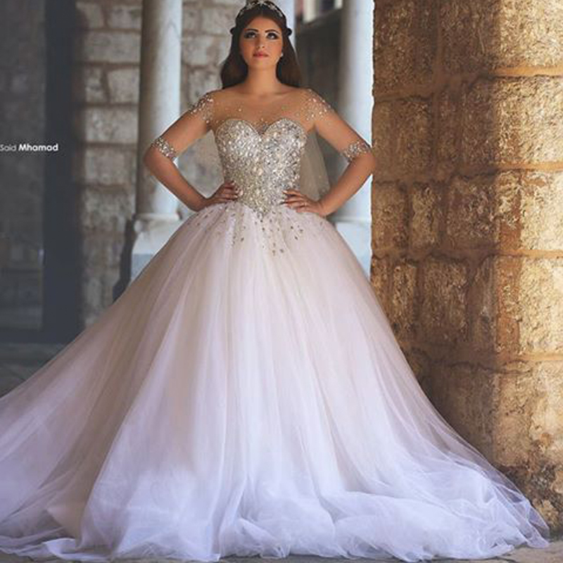 Luxury Wedding Dresses Stones And Crystals Sheer For Bride 2016 Tulle Ball Gown Long Sleevs Muslim Dress Custom Made In From