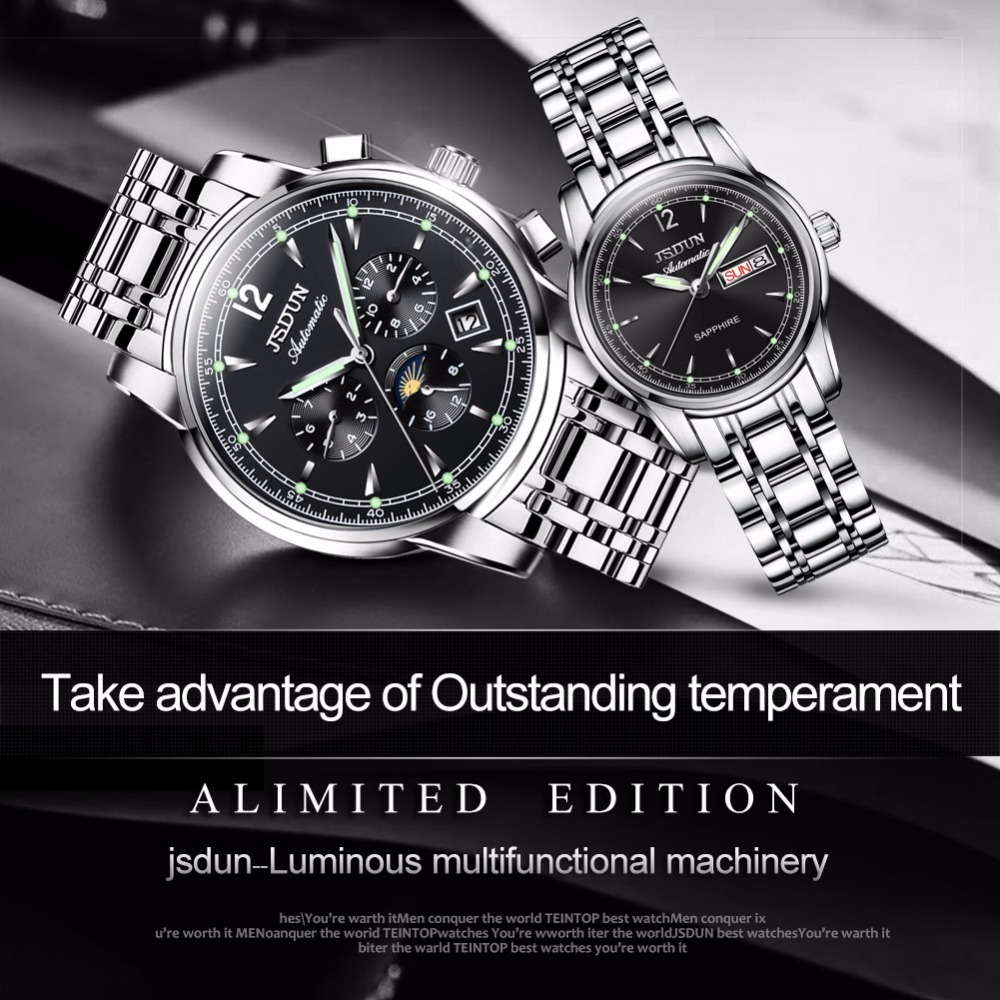 Couple Watches Stainless Steel Mechanical Watches Luxury Brand JSDUN Multifunction Automatic Wrist Watch Relogio Masculino Saat