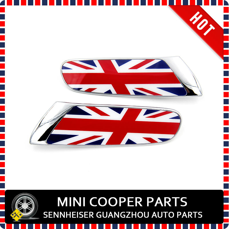 Brand New ABS Material UV Protected Chrome Union Jack Style Replacement Side Lamp Cover For Mini Cooper F56 (2pcsSet)