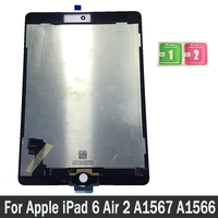 100% New Tablet LCD For Apple iPad 6 Air 2 A1567 A1566 Display Touch Screen Digitizer Sensors Assembly Panel Replacement Parts
