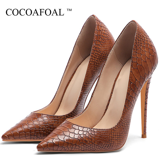 COCOAFOAL Snakeskin Women's High Heels Shoes Woman Valentine Shoes Multicolour Snakeskin Heels Shoe Fashion Sexy Wedding Pumps