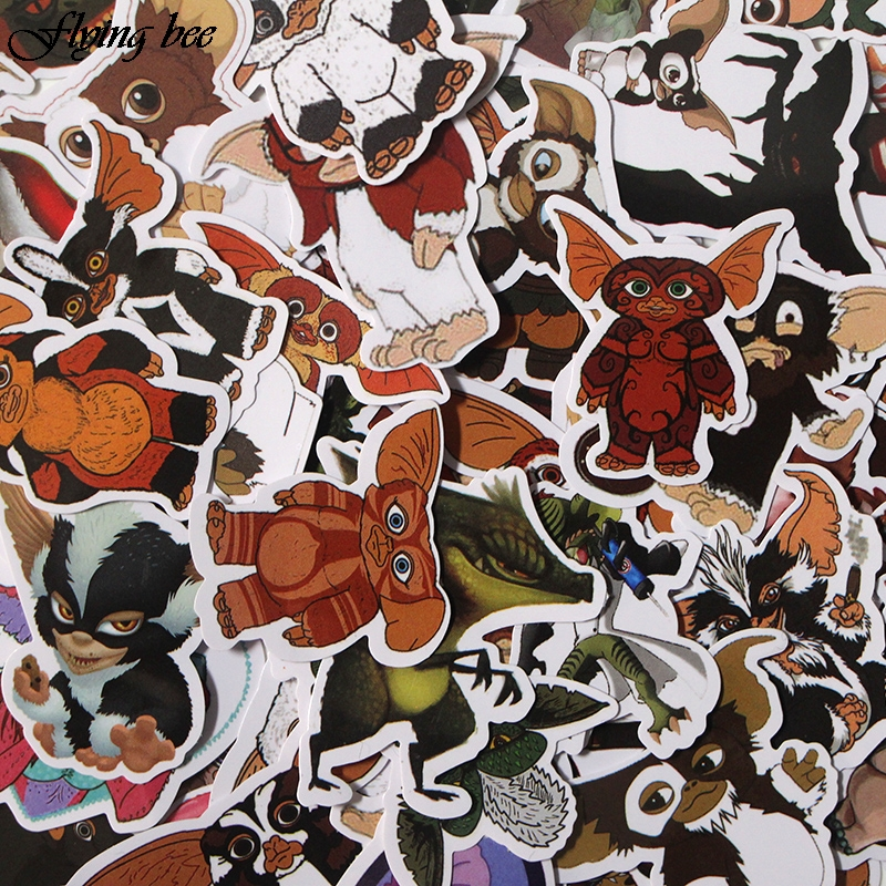 Image 2 - Flyingbee 66 Pcs Gremlins Anime Sticker Decals Scrapbooking Stickers for DIY Luggage Laptop Car Phone Skateboard Graffiti X0019-in Stickers from Consumer Electronics