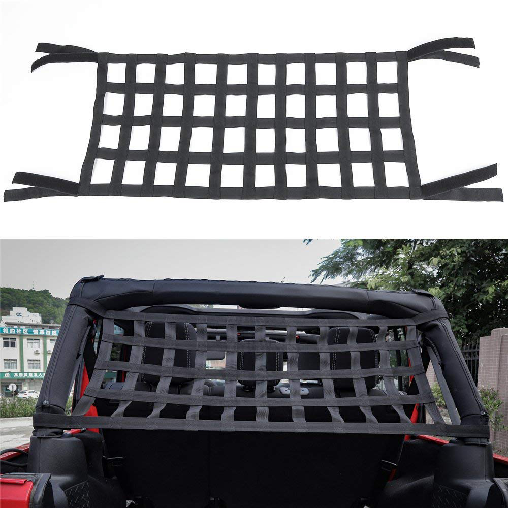 Heavy Duty Cargo Net Car Top Roof Hammock Bed Rest Storage Network Cover For Jeep Wrangler JK 2007 Up Exterior Accessories Cover (1)