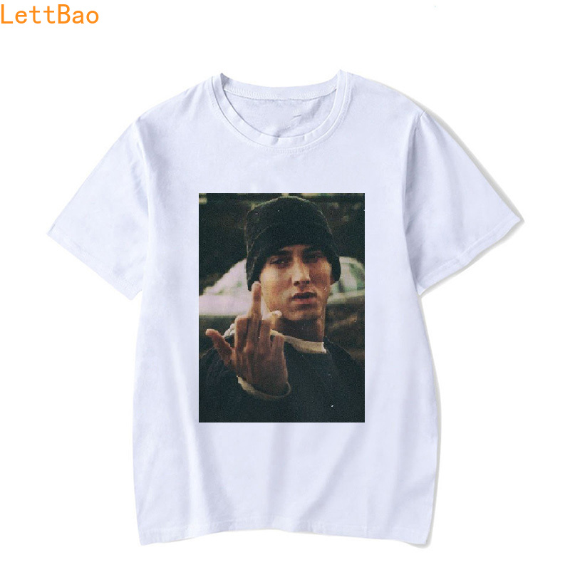Eminem Tshirt Men Unisex White 100% Cotton T Shirt Hiphop Funny T Shirts Punk Style Tops Camisa Masculina Hip Hop Rock T-shirt