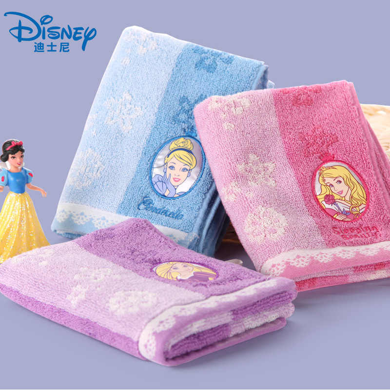Disney Cartoon Princess Flower Embroidered Embroidered Children's Towel Cotton Super Soft Baby Adult Mini Cute Towel  25x50 cm