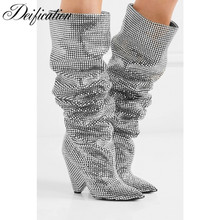 Deification Sequined Cloth Knee High Boots Drilled Glitter Luxury Shoes Women Designers Sexy Strange Heel Celebrity Party