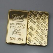 Collectible Coin Decoration 24k-Gold-Plated Switzerland Souvenir Bullion Gift Bar Modern