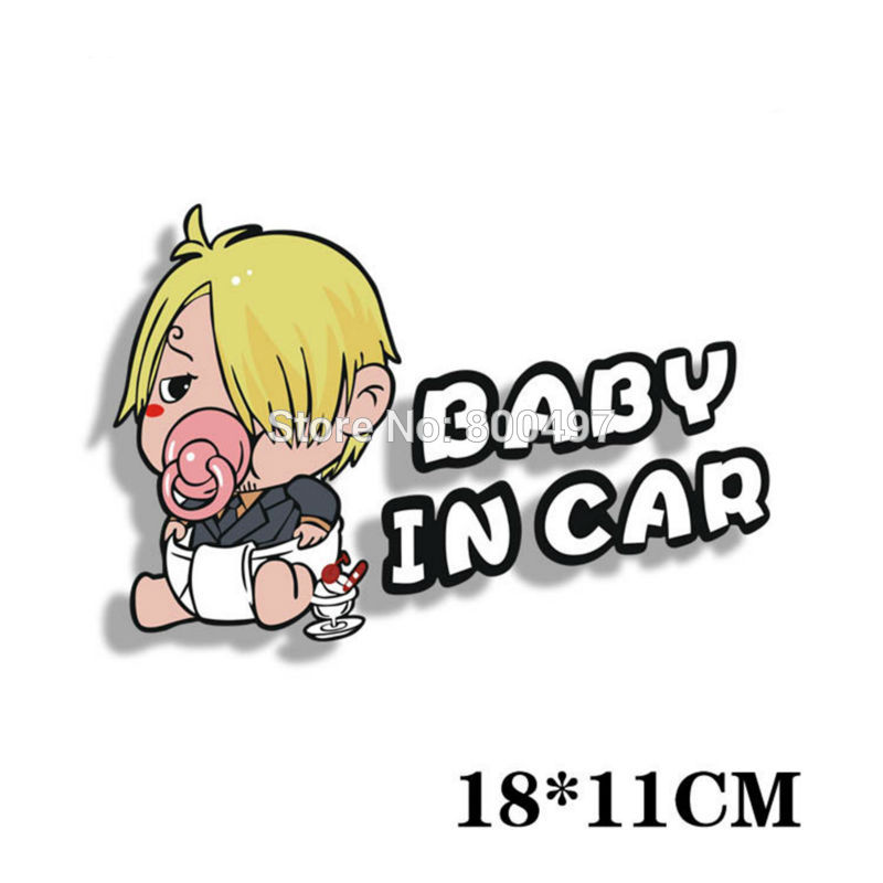 10 x Newest Car Styling Cartoon Sanji Baby in Car Warming Car Sticker Decal for Toyota Chevrolet Volkswagen Tesla Lada
