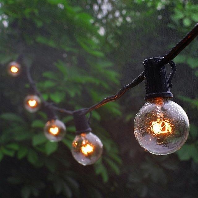 Us 19 28 25 Off Eu Uk 25ft G40 Globe String Lights Hanging Indoor Outdoor Bistro Pergola Deckyard Tents Market Cafe Party Decor In