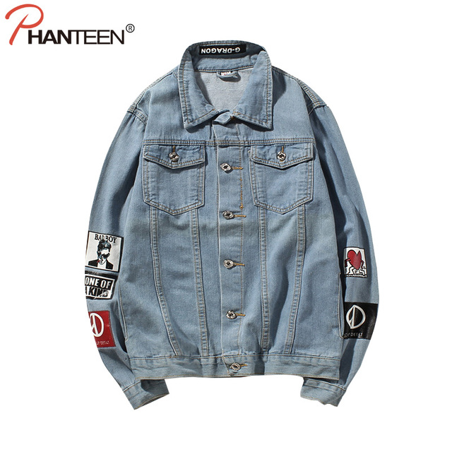Phanteen Korea Hiphop GD Style Man Coat Harajuku Letter Print Denim Jacket Casual Plus Size Outerwear Fashion Men Brand Clothing