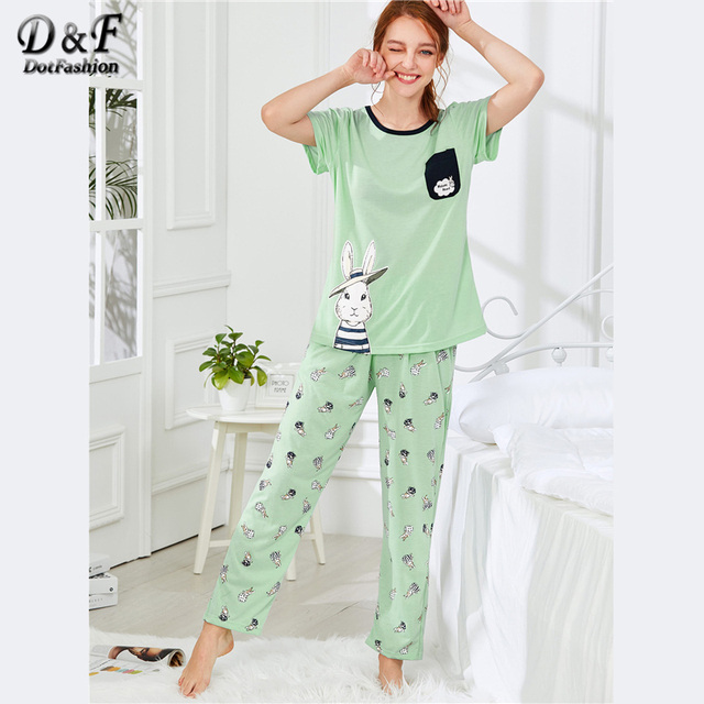 279fa9b7ffe Dotfashion Rabbit Print Cotton Tee   Pants PJ Set Summer Round Neck Short  Sleeve Pocket Nightwear Ladies Green Cartoon PJ Sets