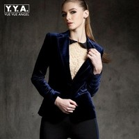 New Arrival High Quality Chic Europe Women S Velvet Blazer Skinny Slim Fit Gold Short OL