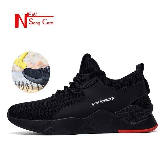 Yeni şarkı kartı erkek Iş Güvenliği Ayakkabıları moda Açık Çelik Ayak Ayakkabı Askeri yarım çizmeler Anti-Smashing nefes Sneakers