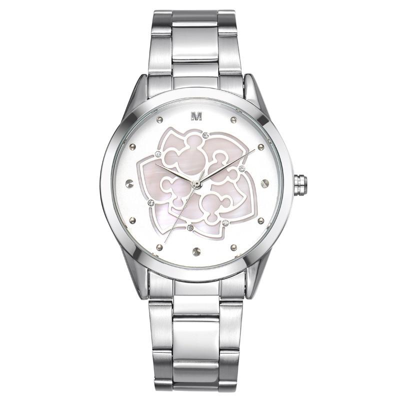 Female watches Disney brands waterproof Flowers fashion steel quartz ladies Wristwatches casual relogio clocks girls watch