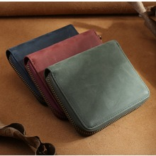 Tiding Zip Around Slim Leather Wallet with Change Pouch Card Holder Organize Ladies Colorful Cowhide Leather Wallet Retro 4135