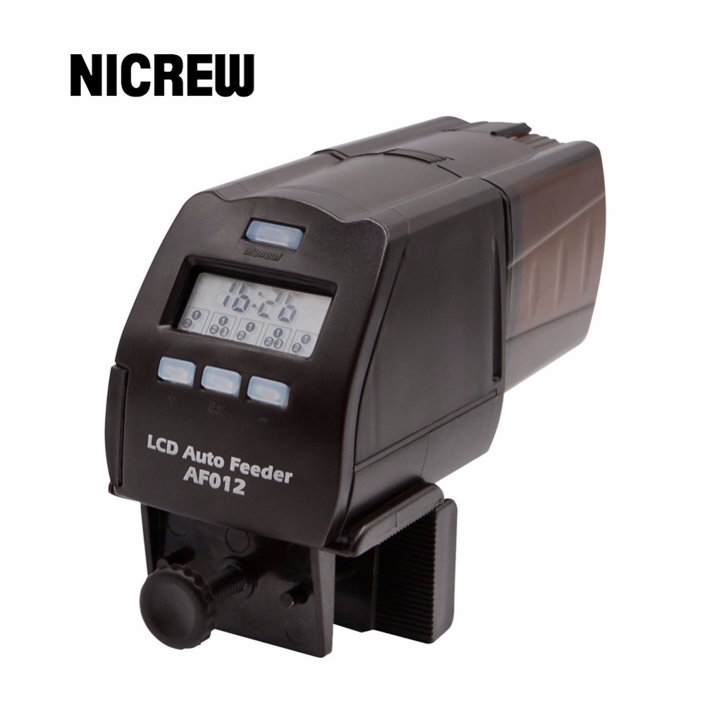 Nicrew Digital LCD Automatic Fish Feeder Aquarium Tank Pond Auto Fish Feeder Timer Food Feeder Timer Capacity Adjustable