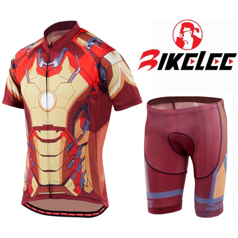 BIKELEE Equipacion Ciclismo 2017 Summer Iron Man Cycling Jersey BIB Shorts Sets Lycra Ropa Ciclismo Hombre Bike Bicycle Clothing