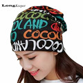 LongKeeper Letters Wrapped Hats for Women Men Korean Fall Winter Beanie Wool Warm Caps Scarf Hairbands Bonnet Hiver
