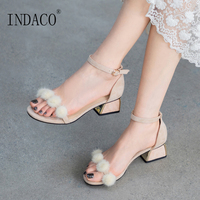 Shoes Woman Sandals Fur Summer Sandals High Heels Ankle Strap Sexy Fashion Footwear 5.5cm