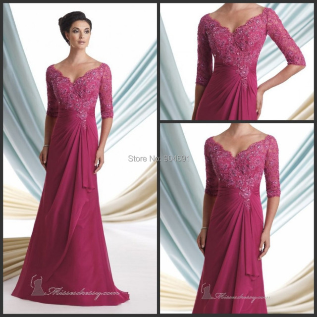 ec2f44c907 New V neck Mother of the Bride Dresses raspberry A line 3 4 Sleeves ...