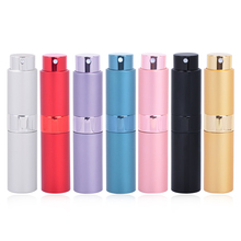 MUB - 8ml 15ml Portable Rotary Spray Pump Aluminum Mini Perfume Bottles Glass Perfumes Cosmetic container
