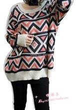 Formal irregular geometric patterns graphic loose plus size sweater thin sweater crew neck ethnic style geometric graphic sweater