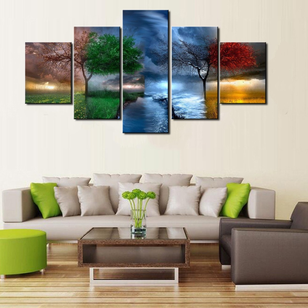 New hd 5 piece modern decorative four seasons trees for 4 home decor