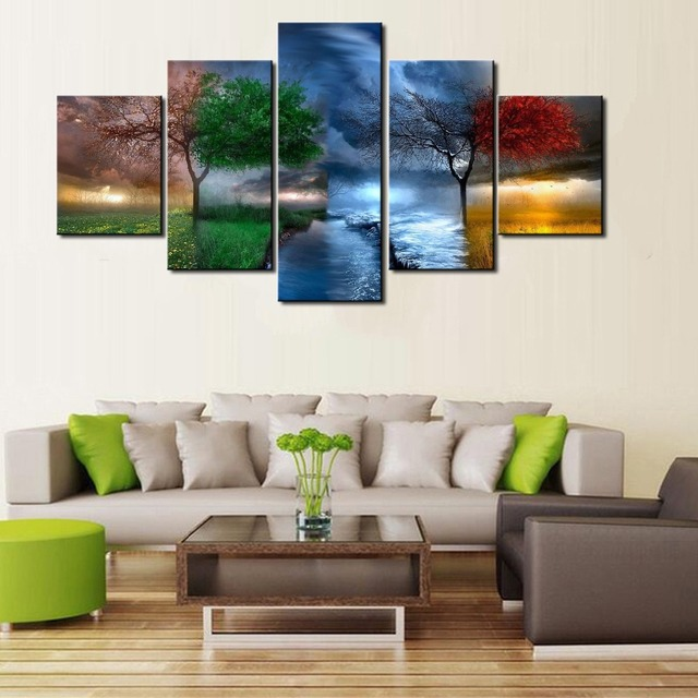 New HD 5 Piece Modern Decorative Four Seasons Trees Cuadros Landscape  Canvas Wall Art Home Decor Part 97