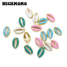 2019 New 16*10mm 10pieces/bag Zinc Alloy Gold Drop Oil Lovely Conch Charms Pendant for DIY Earrings Necklace Jewelry Accessories