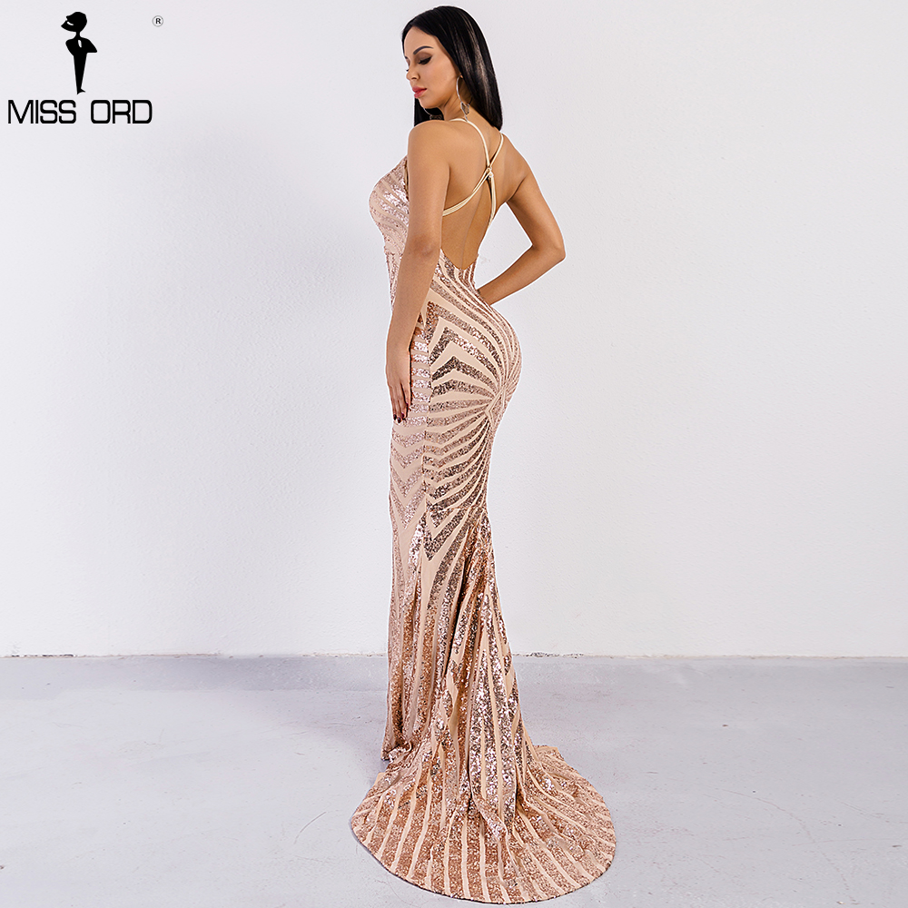 Missord 2018 Sexy decote em v Elegante Listrado Backless Mulheres Vestidos De Lantejoulas Bodycon Maxi Vestido de Festa Vestidos FT8928
