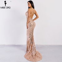 Missord 2018 Sexy V Neck Elegant Striped Backless Women Dresses Sequin Bodycon Maxi Party Dress Vestidos