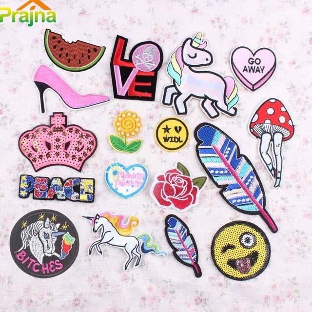 1pcs Unicorn Heart Emoji Patch Iron On Cheap Embroidery Cute Sewing