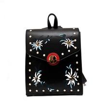 2017 Mochilas KPOP элегантный дизайн женщины рюкзак Bolsas bordadas Многофункциональный женские плечи мешок Заклёпки вышитые кожа