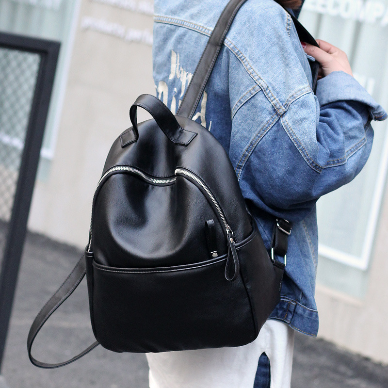 e1c10bd9c3a 2018 New Fashion PU Leather Ladies Shoulders bag Large Capacity School bag  Black soft side Backpack Women s backpack SW0099-in Backpacks from Luggage    Bags ...