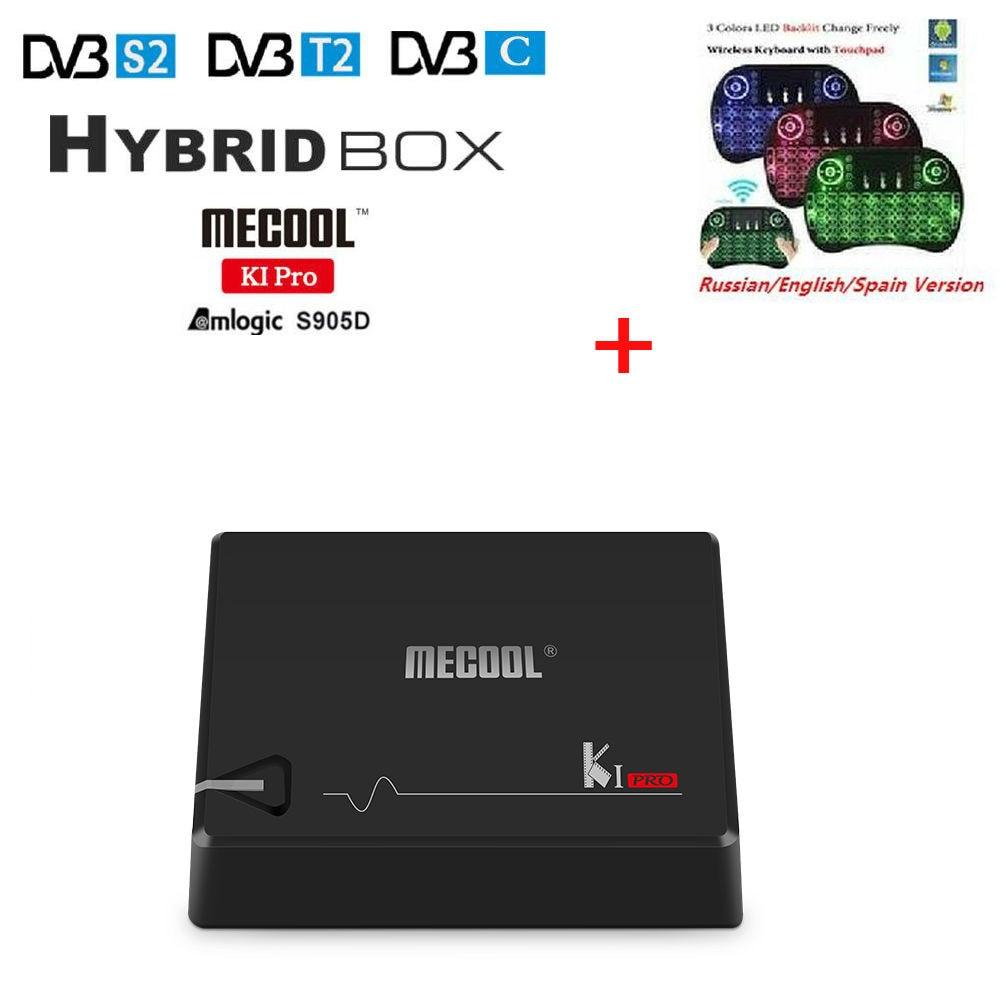 Amlogic S905D KI PRO híbrido Android 7,1 TV Box DVB-T2/S2/C Quad Core 64 poco 2G 16G KI PRO Set Top Box soporte CCCAM NEWCAMD