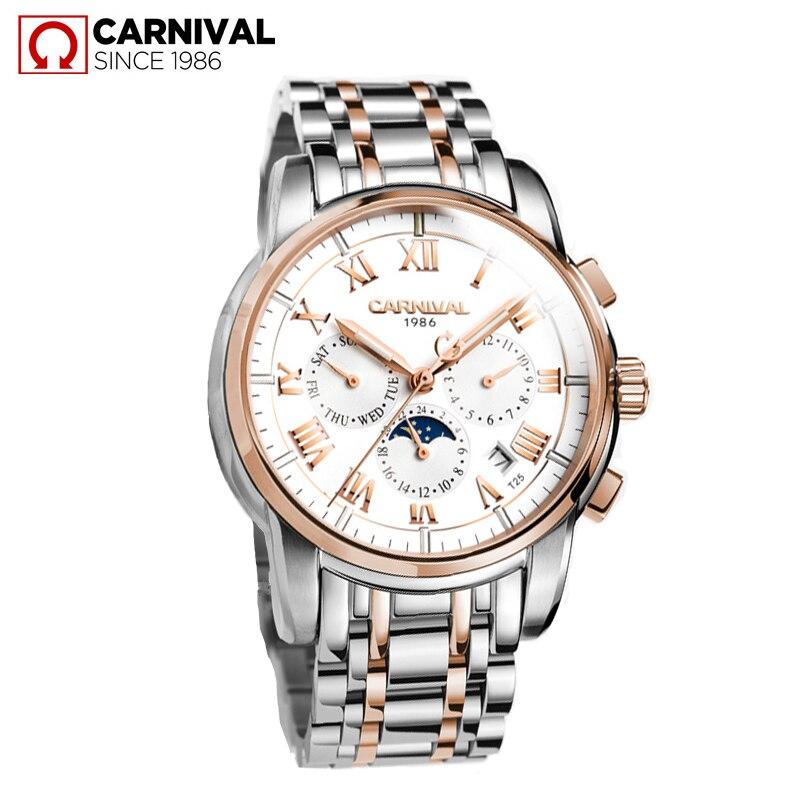 Luksusowe marki tryt T25 luminous zegarek wojskowy auto mechaniczne zegarki męskie pełna stali nierdzewnej wodoodporny zegar montre fazy księżyca reloj w Zegarki mechaniczne od Zegarki na  Grupa 2